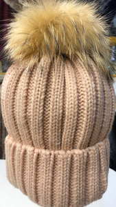 Light Pink Fox Fur Pompom Hat