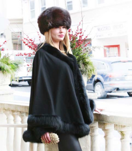 Black Cashmere Cape w/Fur Trim