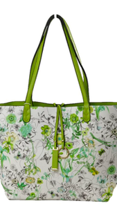 Reversible Floral Green Bag