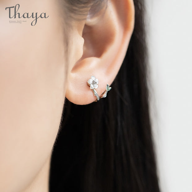 Thaya White Cherry s925 Silver Earrings Flower Round Cuff Earrings For Women Elegant Fine Jewelry