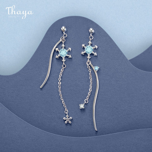 Thaya Silver Plated Snow Earring Drop Dangle Blue Crystal Silver Color Charms Season Sereis For Women Fashion Gift Fine Jewelry
