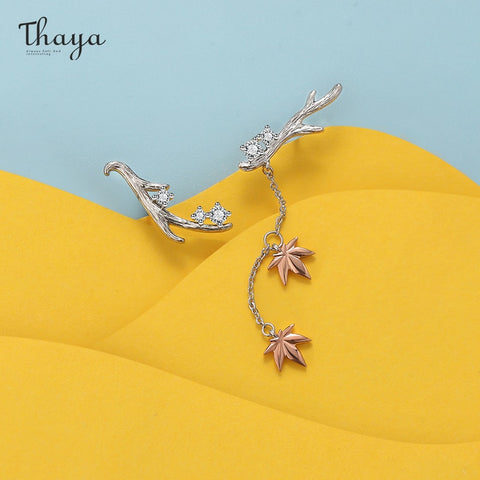Thaya Design Silver Color Earrings Branches Maple Leaf Rose gold Fashion Stud Earrings For Women Elegant Fine Jewelry Gift