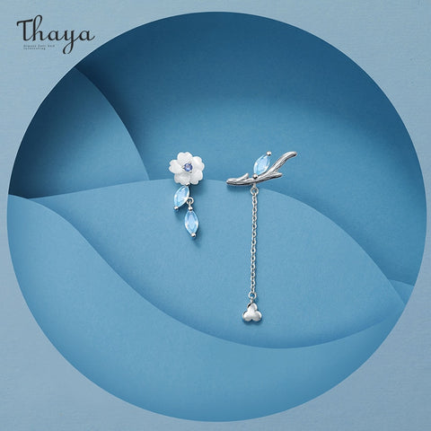 Thaya Brand Silver Plated Studs Earring Chain Jasmine Stud Platinum High Quality For Women Earring Season Series Fine Jewelry