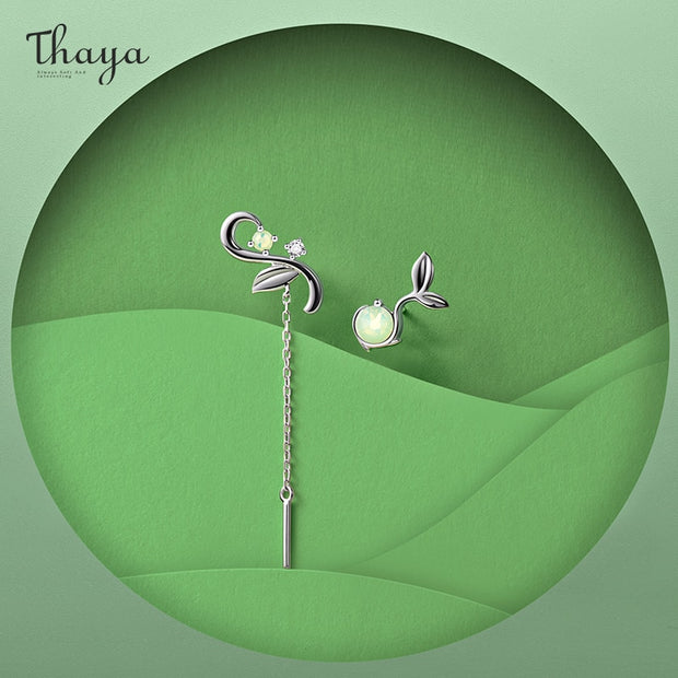 Thaya Original Design Silver Colour Earrings Opal Bud Stud Earrings Fashion Earring For Women Elegant Fine Jewelry For Women