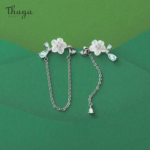 Thaya Original Silver Color Studs Earring Chain Shell Flower Dangle High Quality For Women Earring Season Series Fine Jewelry