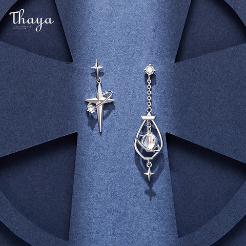 Thaya Original Design 925 Silver Needles Earring Plated 18k Gold Earrings Zircon Charms Stud For Young Girl Fine Jewelry Gift