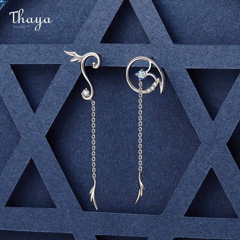 Thaya Original Design Magic Series Silver Plated 18K Gold Earrings Zircon Earring Stud For Women Ladies Girl Fine Jewelry Gift