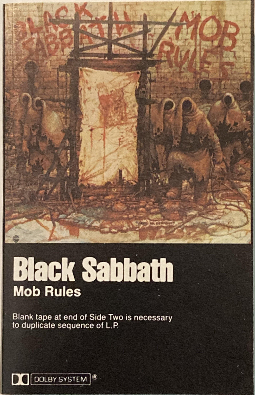 Black Sabbath - Mob Rules Cassette (see notes) Fair/good/as is