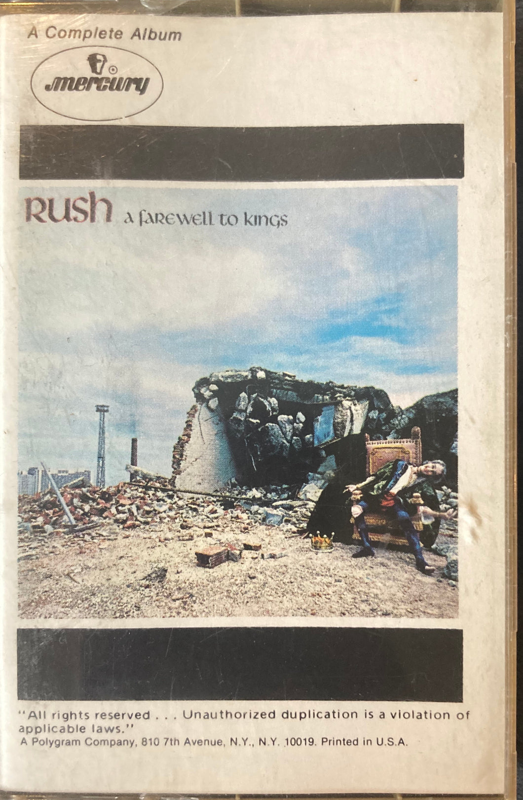 Rush - A Farewell To Kings Cassette VG