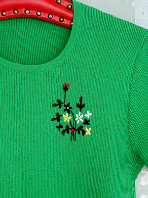 70'S EMBROIDERED WOOL TOP