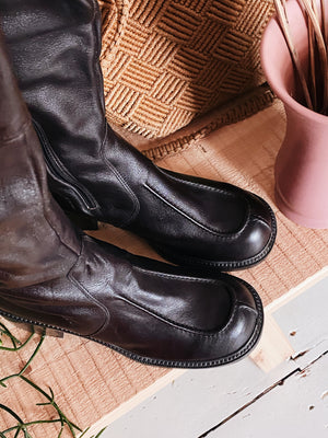70'S DARK BROWN LEATHER BOOTS
