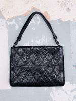 BLACK CROC LEATHER BAG