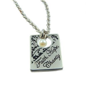 Faith Hope Charity Filigree Necklace