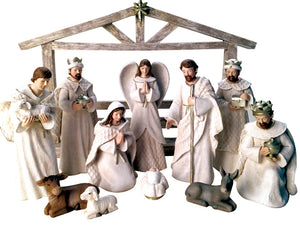 Nativity Set w/ Stable (White)