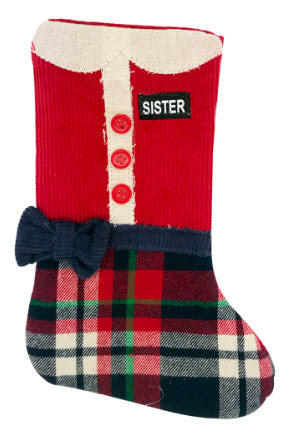 Sister Navy Plaid Missionary Stocking