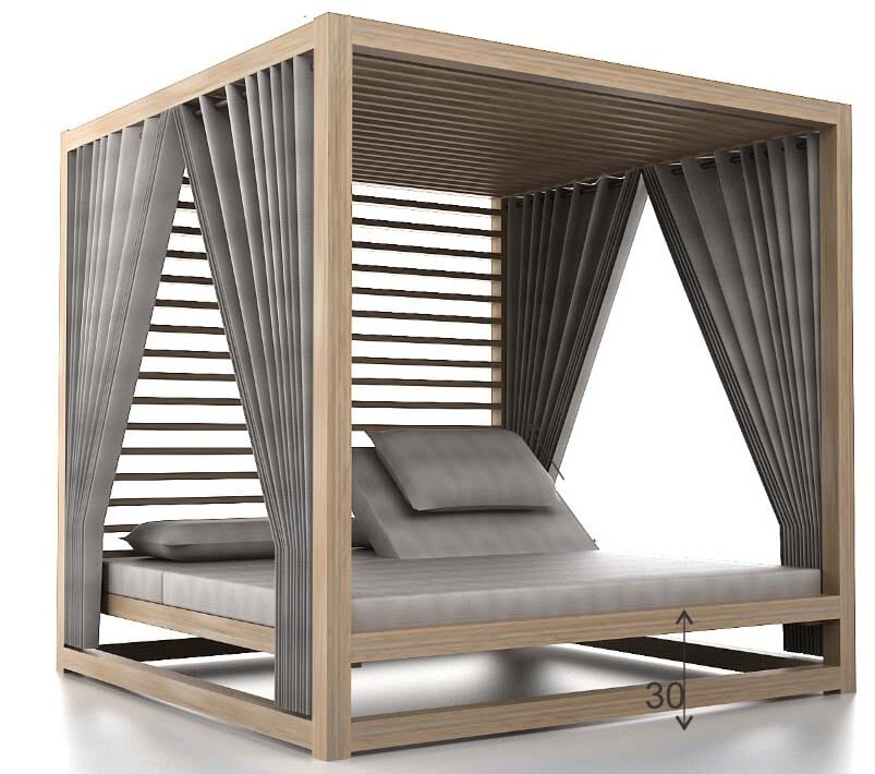 Denver Daybed with Sunbrella roof, Canopy (Excl Cushions), 3 Mesh walls, Wood Louvres at Back, Heather Beige Fabric