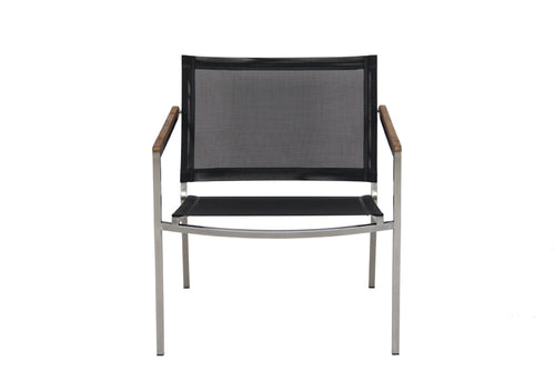 Firenze Club Armchair, Stacking, Stainless and Batyline Sling (Java 5048)