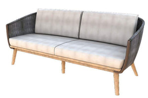 Morata DS Sofa, 3S, Grey Webbing/Teak Legs (cushions additional)