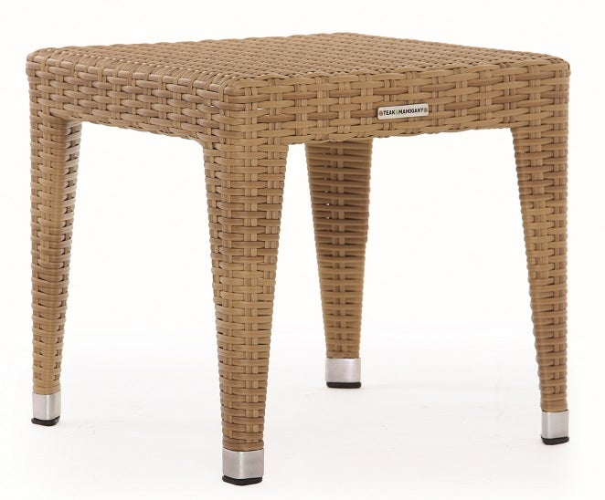 Napoli Square sidetable/Backless Stool, Natural, (Glass Additional), (NM)