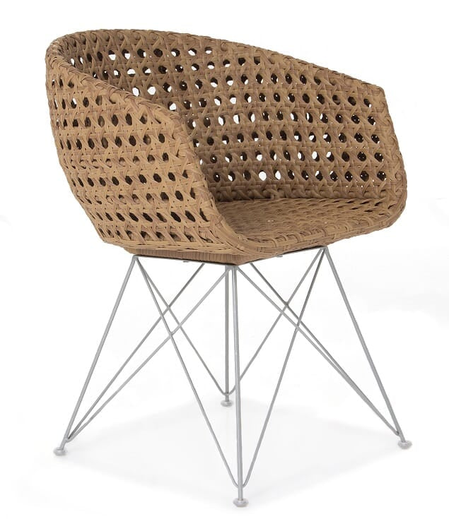 Amalfi Arm Chair (Natural Dot Style with Steel Legs)