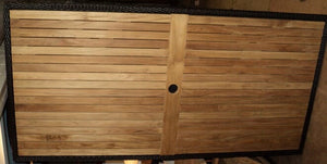 "Rectangular TableTop 79 x 39"", Teak/Woven border, Java (With Hole)"