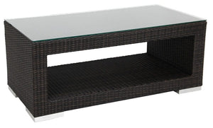 "Torino Coffee Rectangular Table (47x24""),with Shelf, (1/4"" Glass additional), Java Flat"