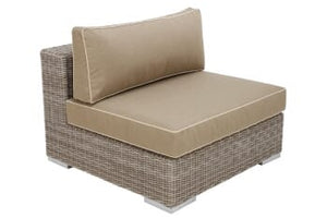 "Tobago Center Module, Single -- Seat/Back cushion, 2-piece, Heather Beige Sunbrella, 5"" Dryfast Foam with Polyfill Back"
