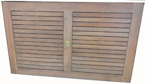 "Rectangular Tabletop 59 x 35"", Teak, with Parasol hole & Brass Plug, w border"