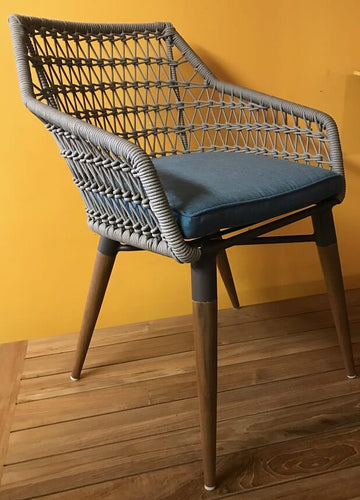 Ripley Arm Chair, Light Grey Rope, Taupe Powdercoated Frame. Teak Legs (Seat Cushion Addtl)