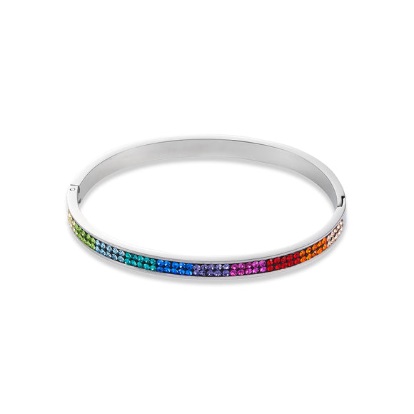 COEUR DE LION Bangle stainless steel & crystals pavé multicolour