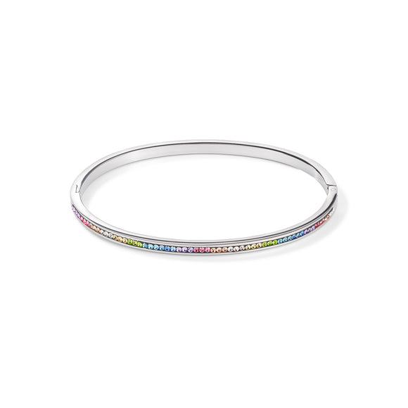 COEUR DE LION Slim Bangle stainless steel & crystals pavé multicolour pastel