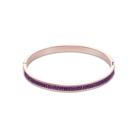 COEUR DE LION Bangle stainless steel rose gold & crystals pavé amethyst