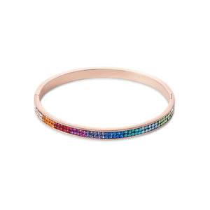 COEUR DE LION Bangle stainless steel rose gold & crystals pavé multicolour
