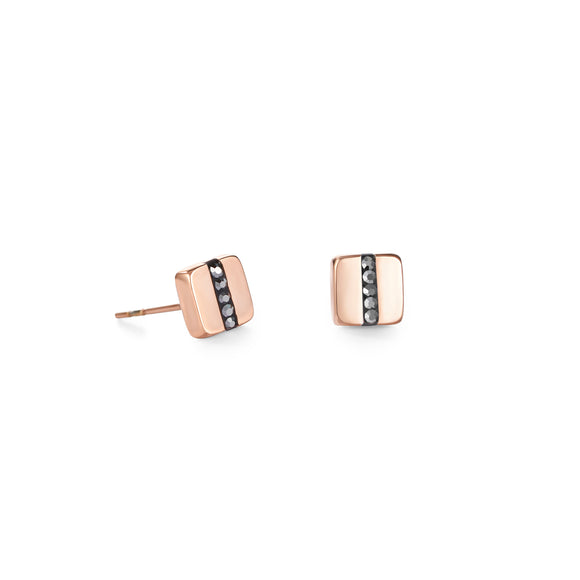 COEUR DE LION Earrings stainless steel square rose gold & crystals pavé strip anthracite