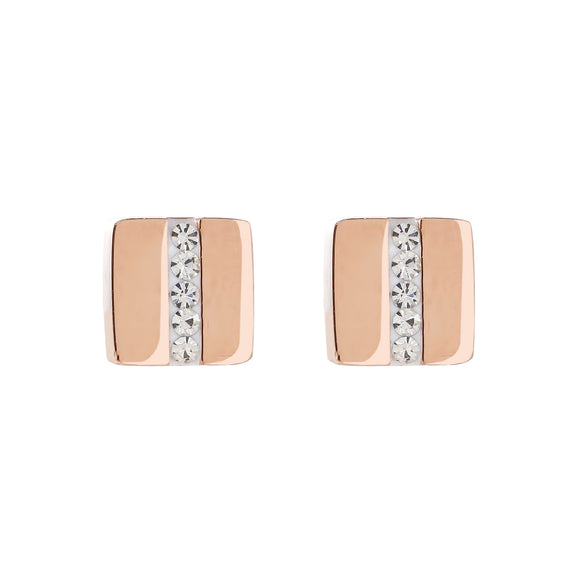 COEUR DE LION Earrings stainless steel square rose gold & crystals pavé strip crystal