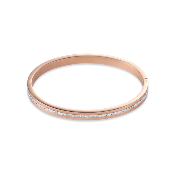 COEUR DE LION Bangle stainless steel rose gold & crystals pavé strip crystal