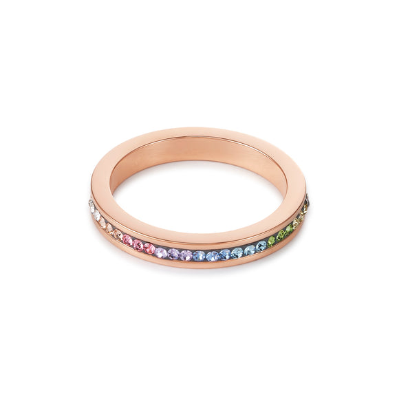 COEUR DE LION Ring slim stainless steel rose gold & crystals pavé multicolour pastel