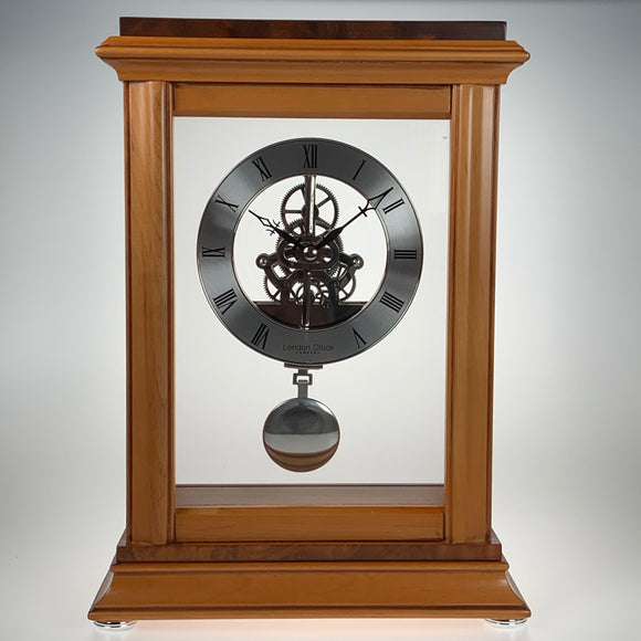 London Clock Co Quartz Wooden Skeleton Mantel Clock
