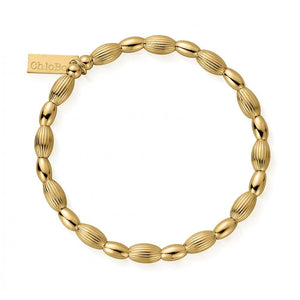 ChloBo Sterling Silver/Gold plated Double Rice Layering Bracelet