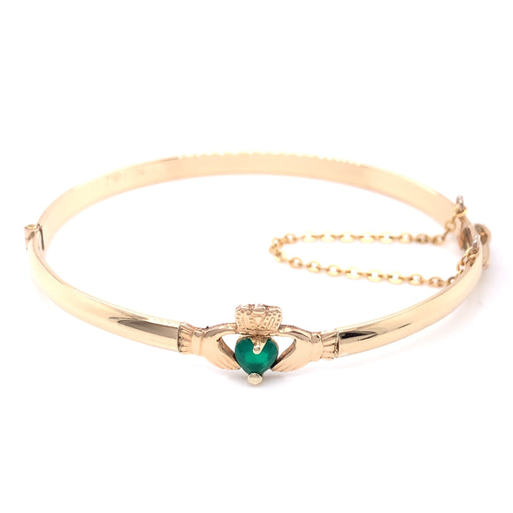 9ct Gold Plated Claddagh Green Agate Bangle