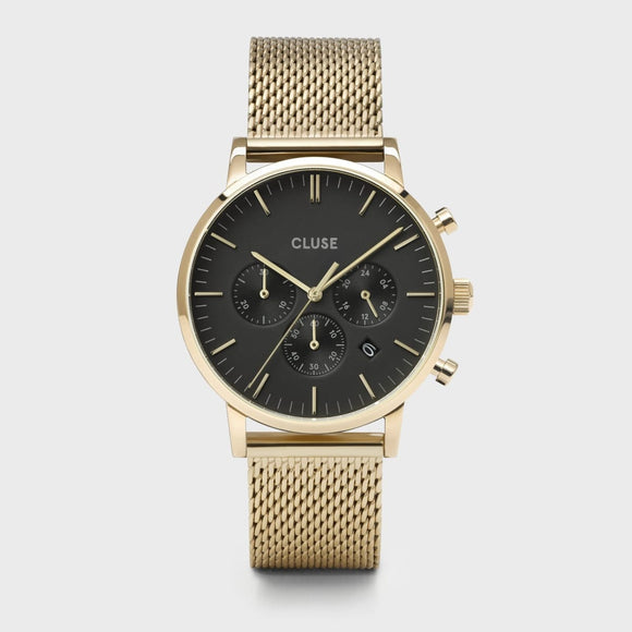 Aravis Chrono Mesh Black, Gold Colour
