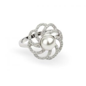 Paul Costelloe Sterling Silver Pearl CZ Swirl Ring
