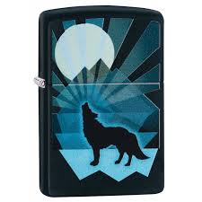ZIPPO WOLF AND MOON DESIGN LIGHTER