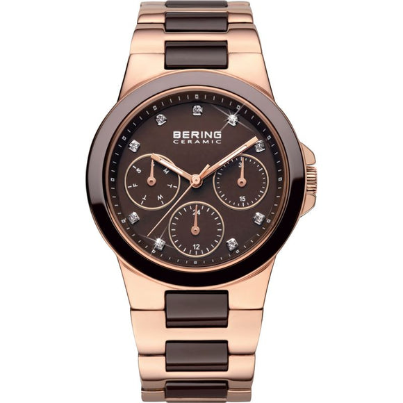 Bering Rose Gold Multi-Dial Chocolate Bracelet Watch