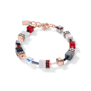 COEUR DE LION GeoCUBE® Bracelet rose gold, white & red