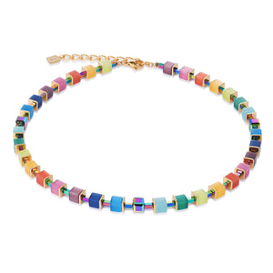 COEUR DE LION Necklace GeoCUBE® synthetique tiger's eye & Swarovski® Crystals multicolour rainbow-gold