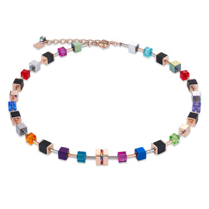 COEUR DE LION Necklace GeoCUBE® Stainless steel & crystals pavé, Swarovski® Crystals & onyx multicolour