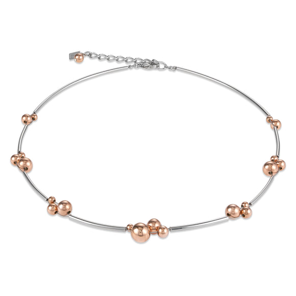COEUR DE LION Necklace balls stainless steel rose gold-silver