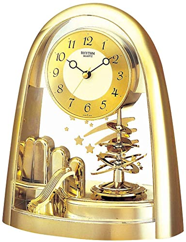 Rhythm Gold Shooting Stars Quartz Anniversary Mantel Clock