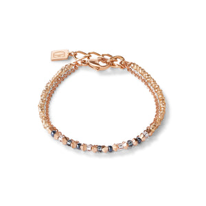 COEUR DE LION Bracelet fine waterfall rose gold-grey